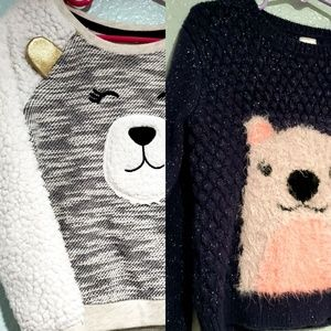Two Cat & Jack playful bear sweaters